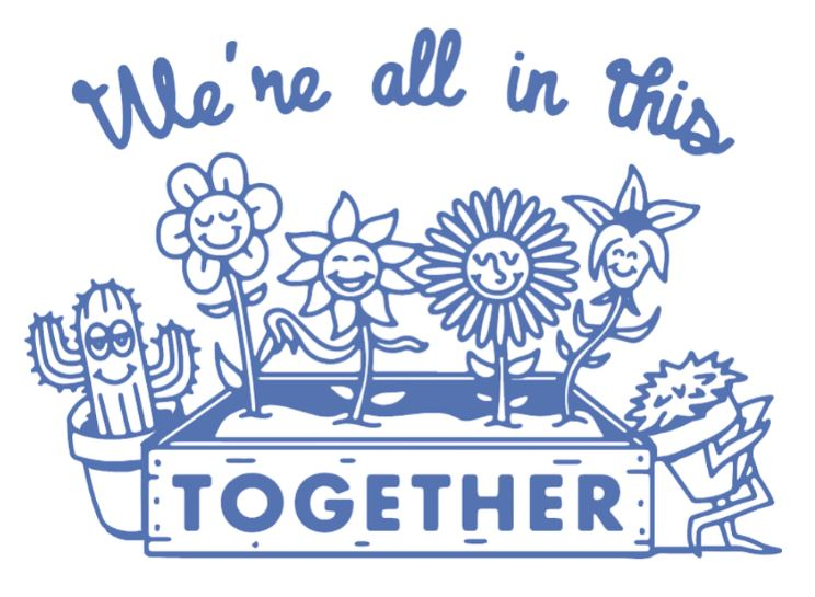 flower pot words  with we're all in this together