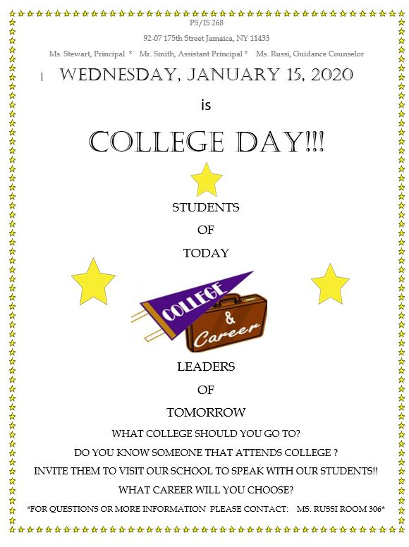 invitation for college students to visit our school for college day