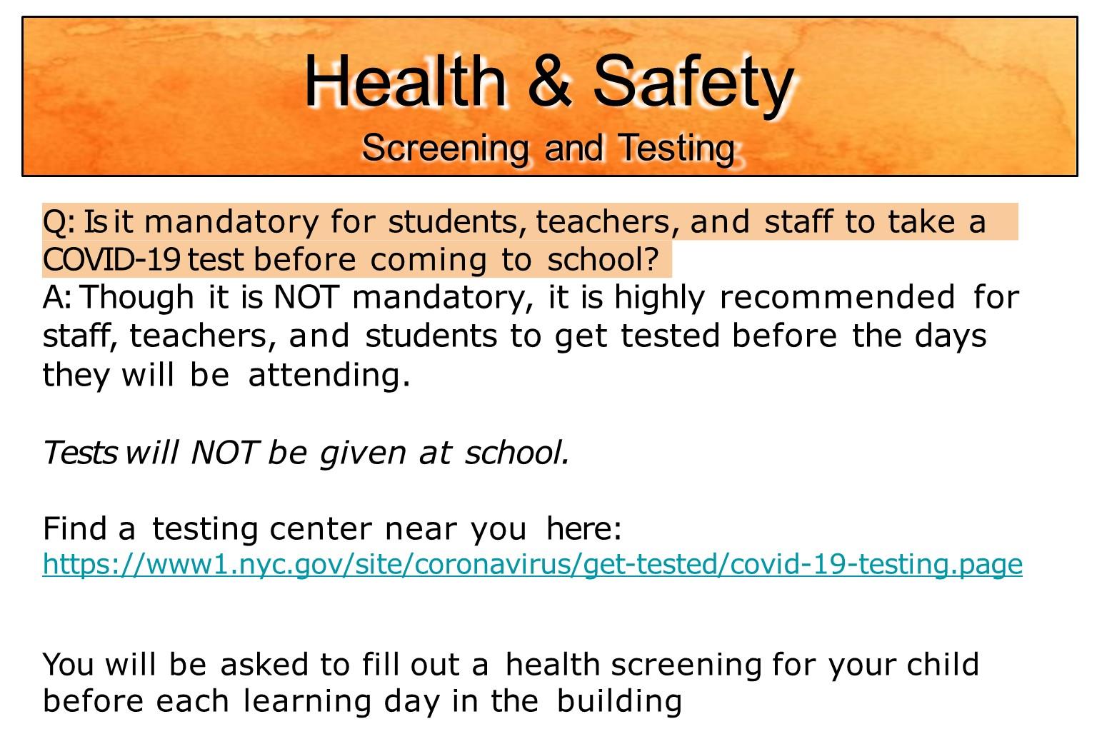 Health measures taken in school during covid