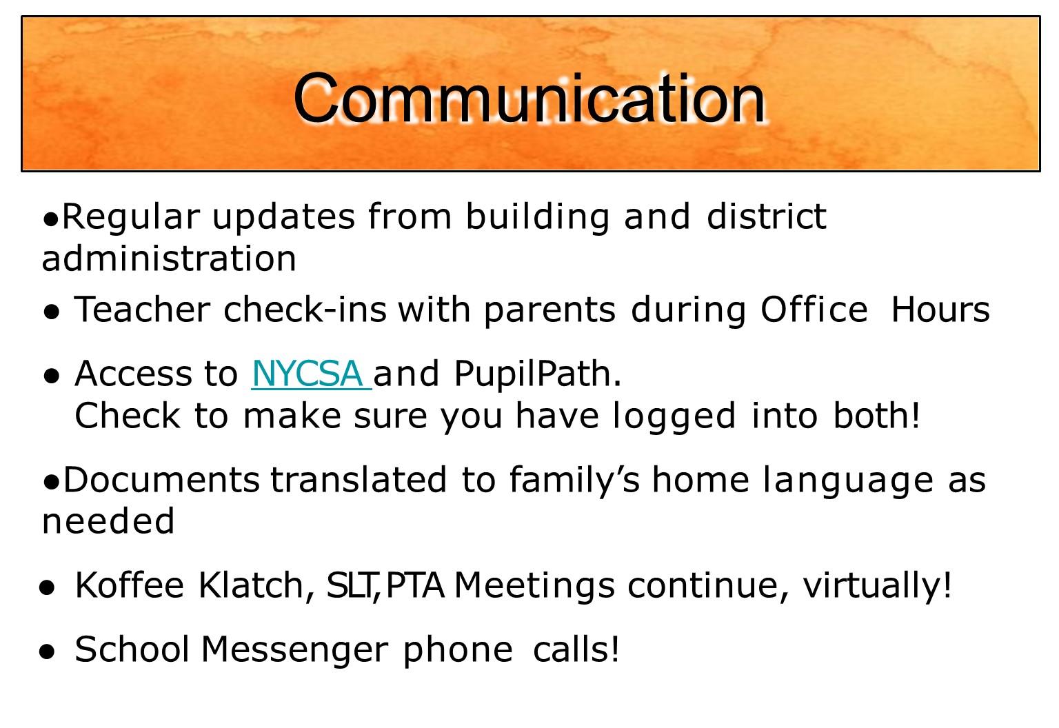 communication areas