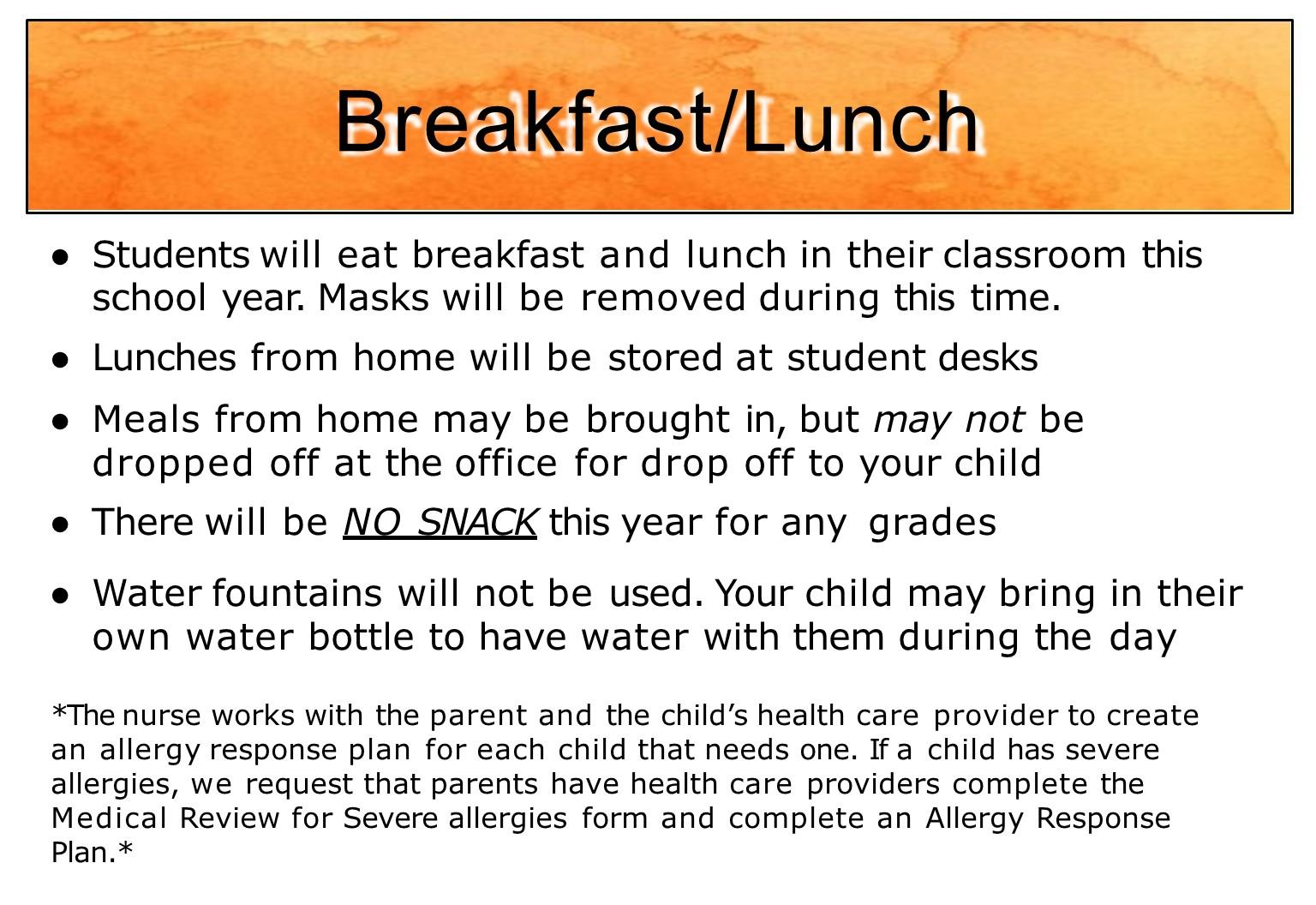 Breakfast schedule