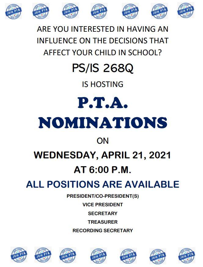 FLYER FOR PTA NOMINATION