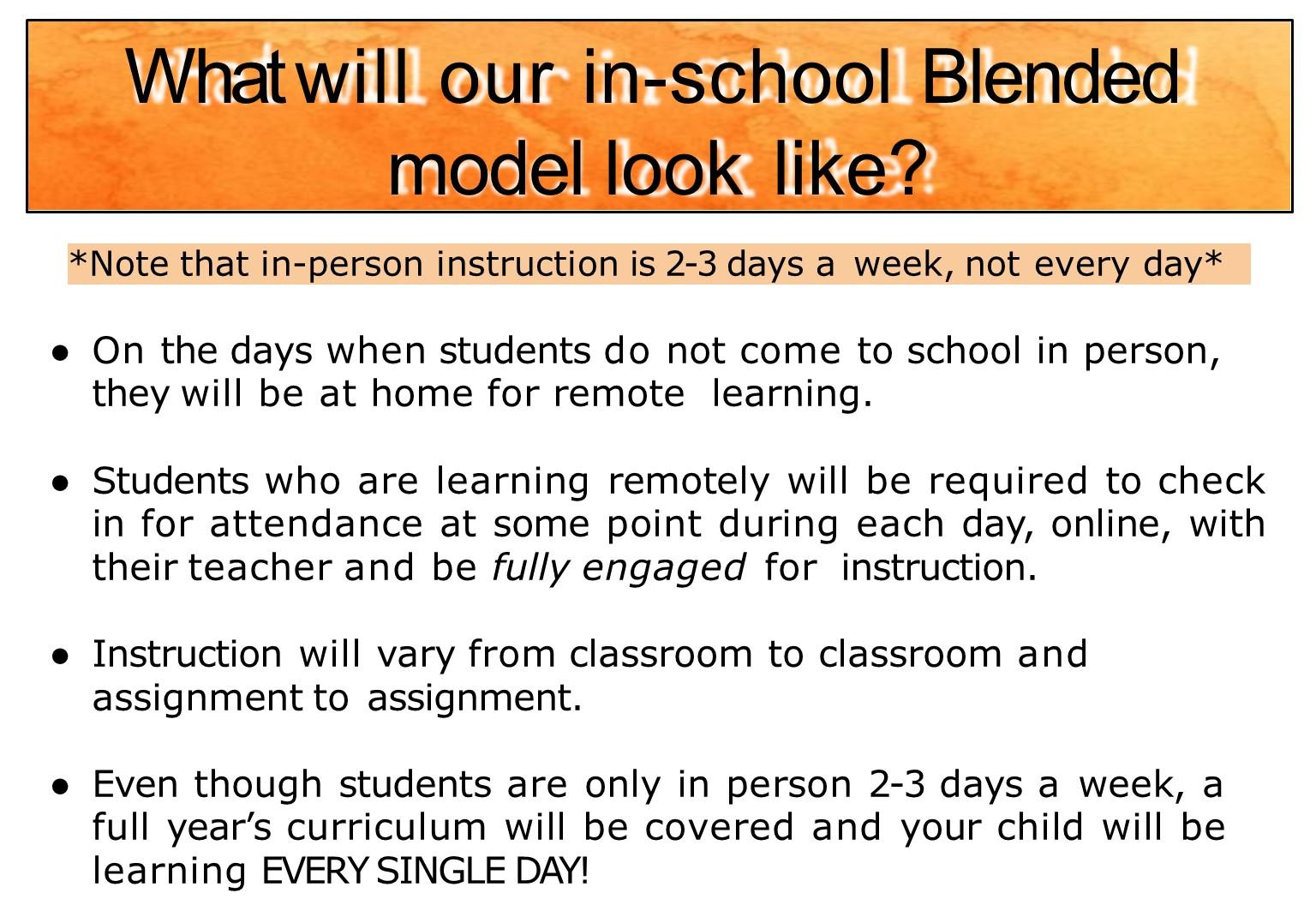 Blended model explained in school