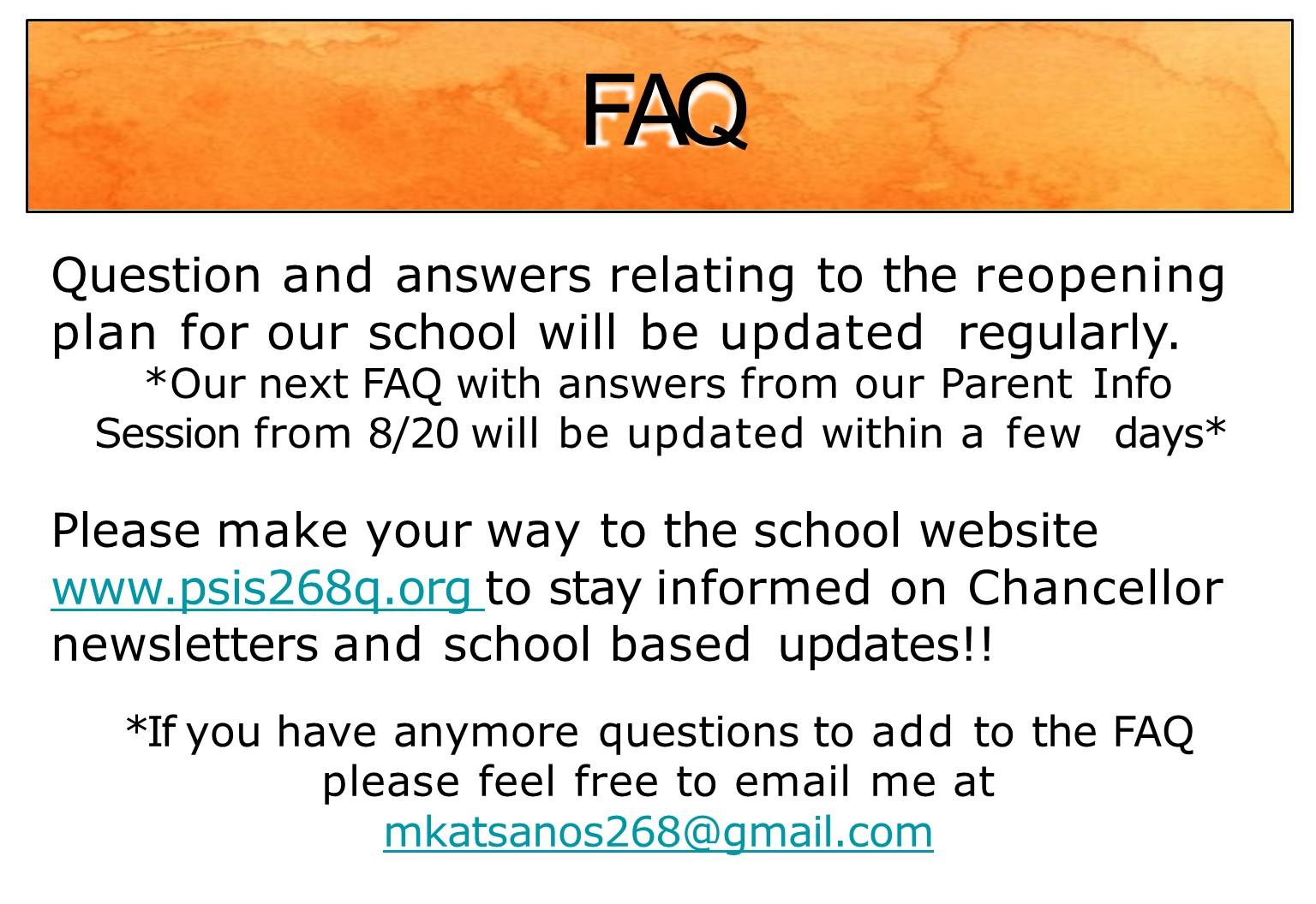 FAQ for parents