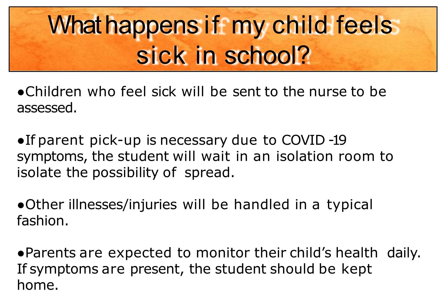 Sick child in school