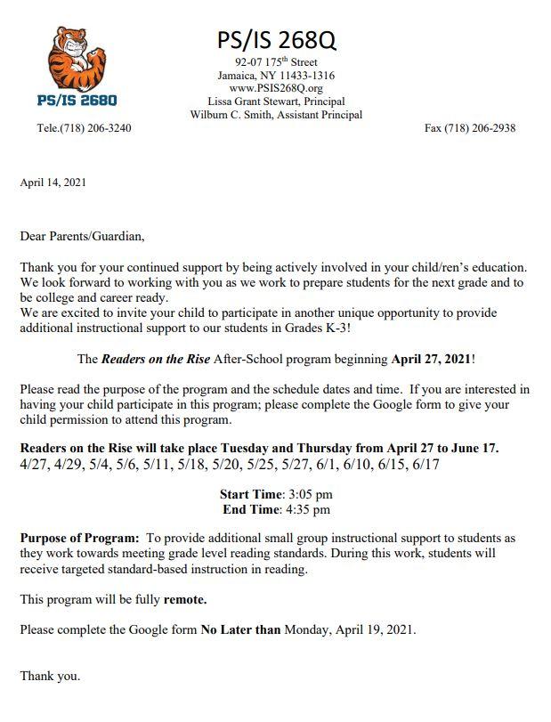 Letter to sign up for program