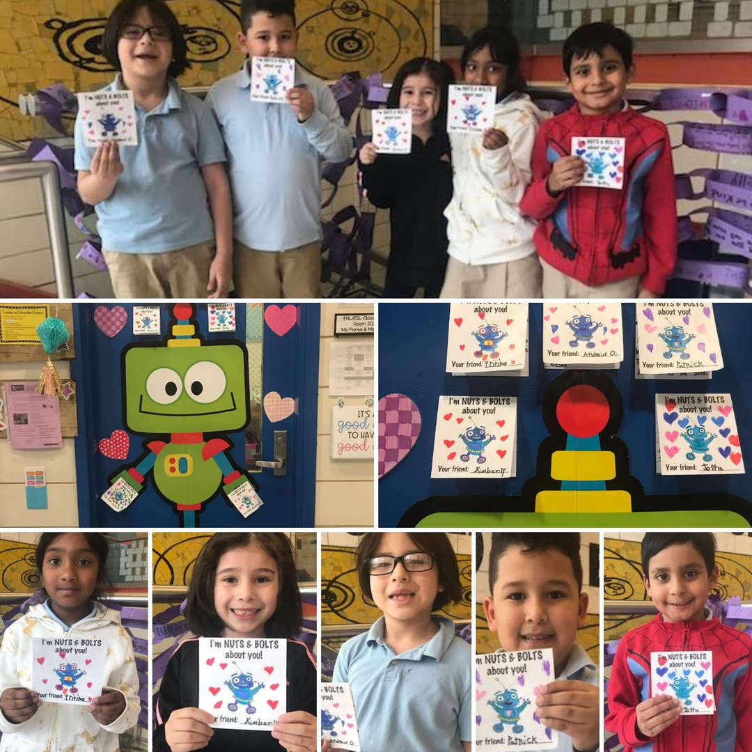 students showing cards made