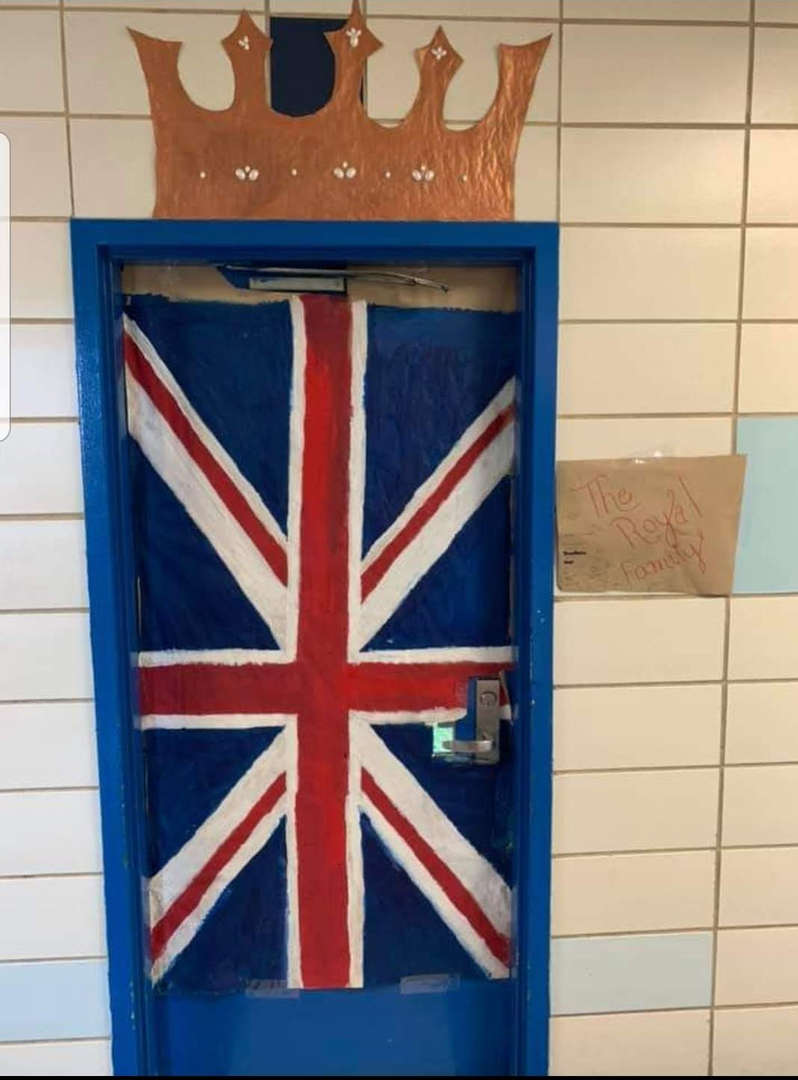 Classroom door decorated with Flag from England