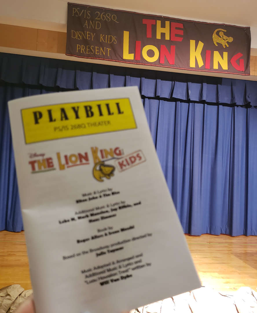 Play bill from student performance of Lion King