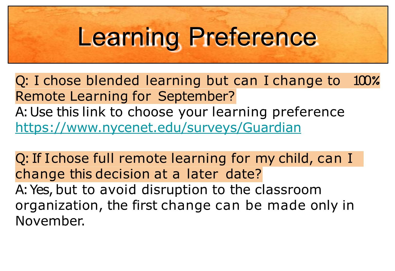 Learning preferences