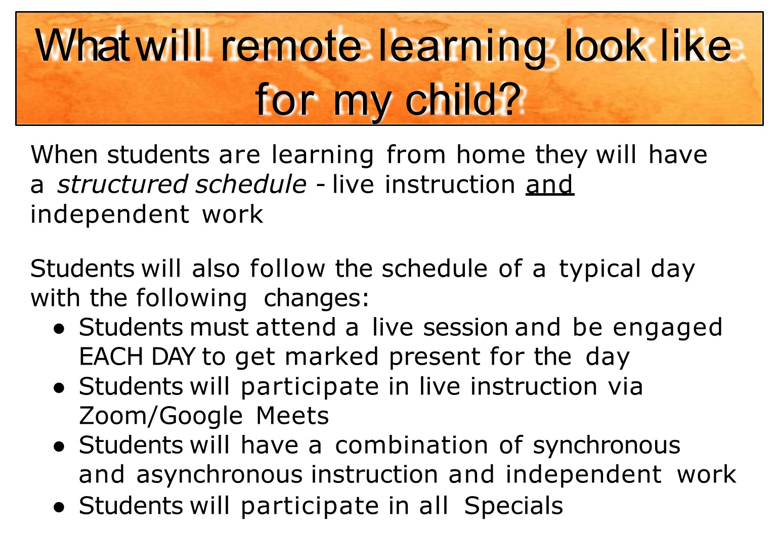 Remote learning schedules