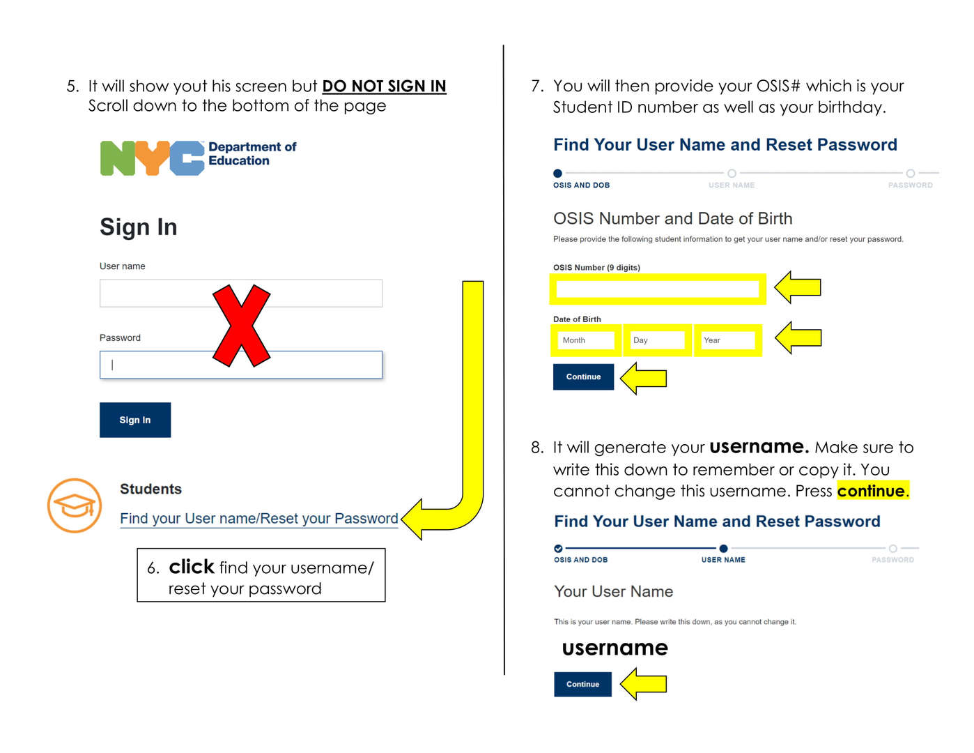 showing where to sign in online