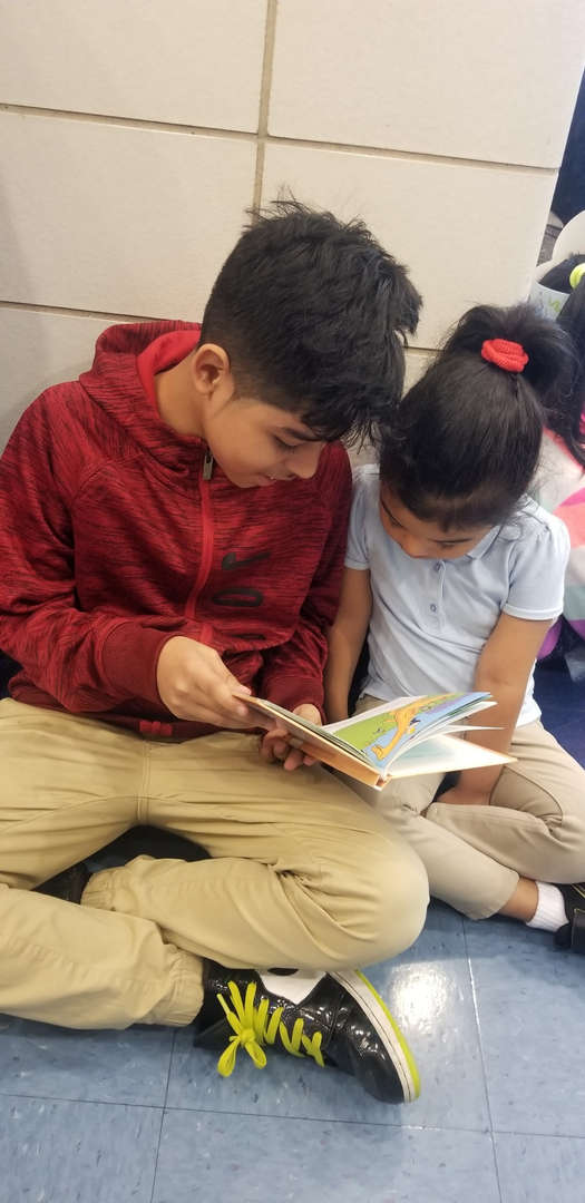Brother reads to his little sister