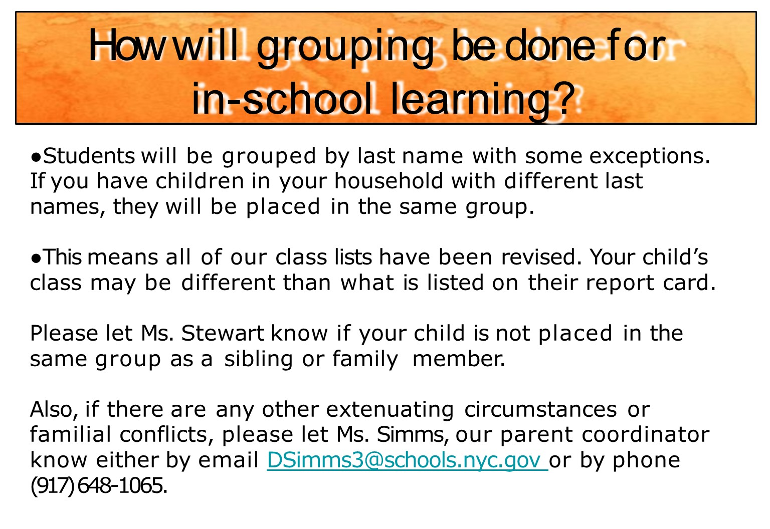 Student grouping for in school learning