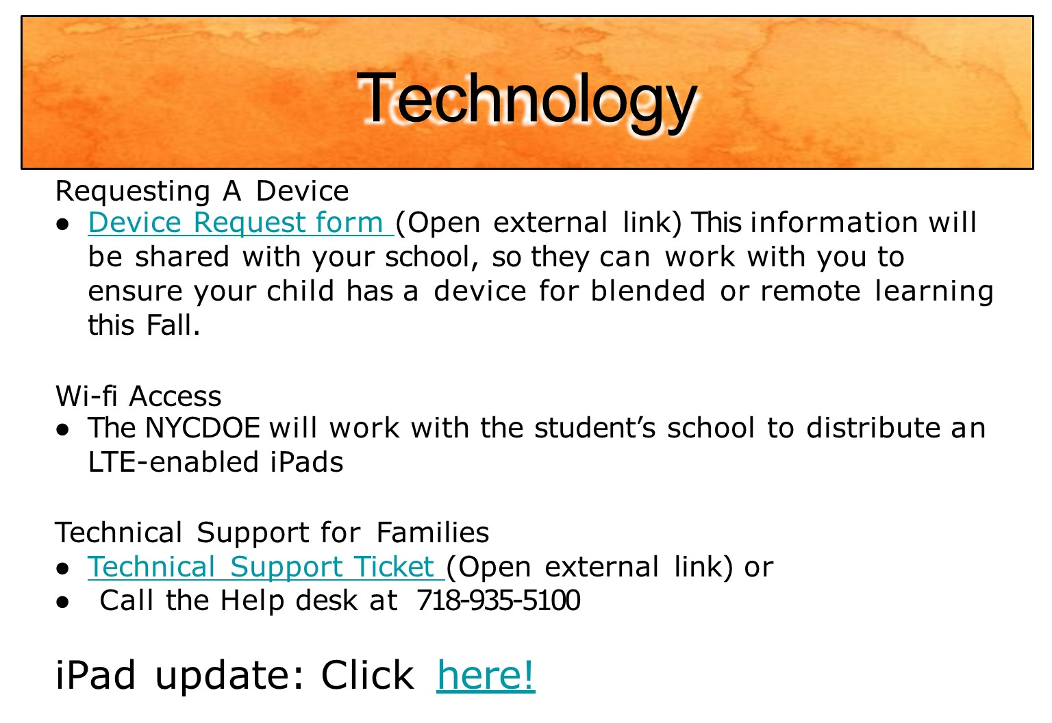Technology and device update