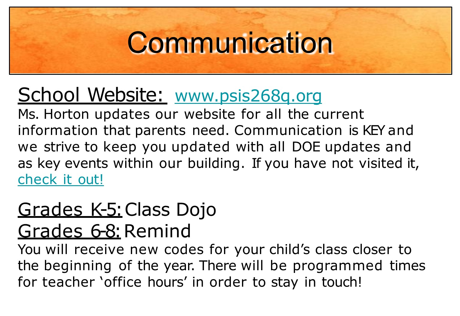 communication is found on website