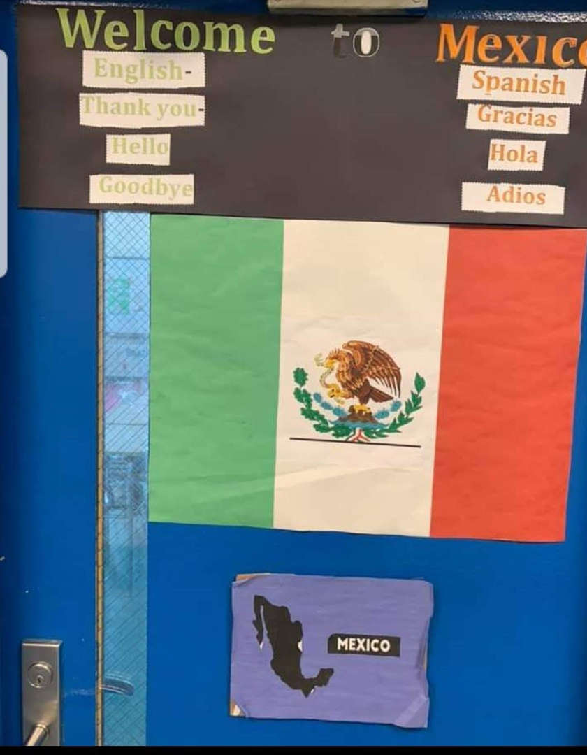 Classroom door decorated with Italian Flag