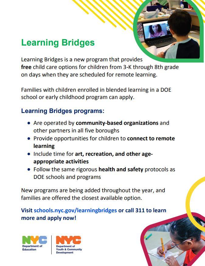 Advertisement for Learning Bridges program