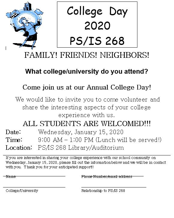 invitation for friends and family members in college to visit our school