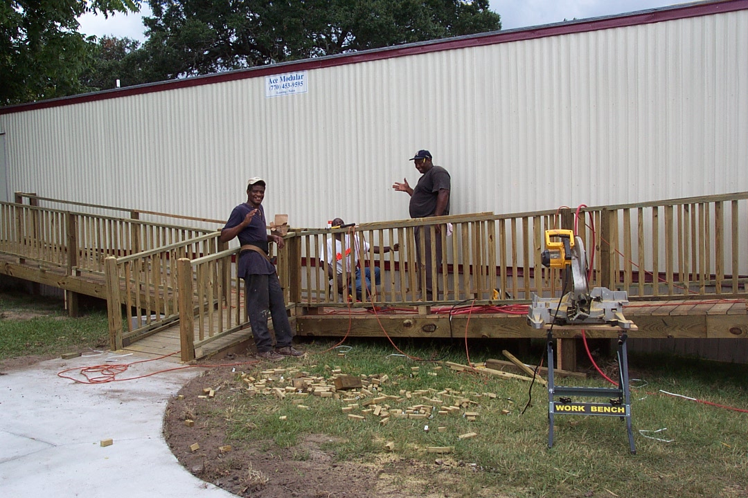 Building ramps on the portables at Stiles Avenue location