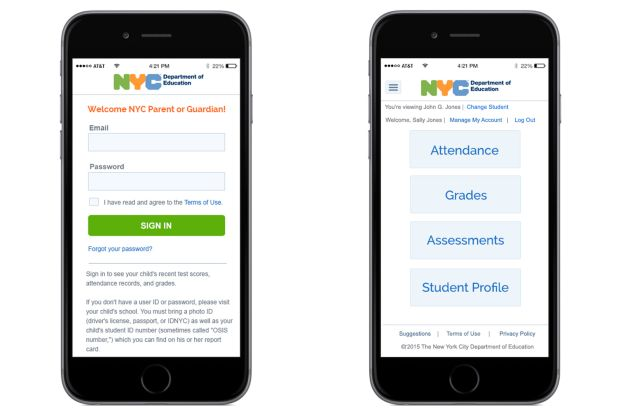 Cell phone with NYC Schools Account login page