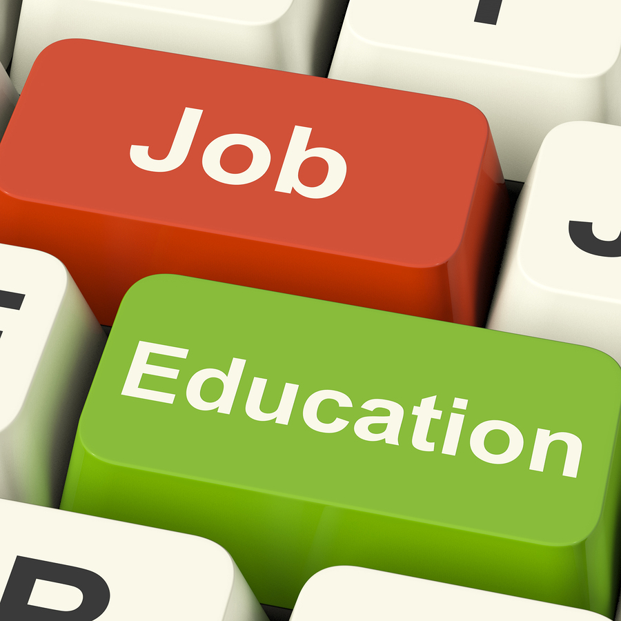Keyboard with one key saying jobs and another key saying education