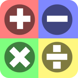 Math symbols (plus sign, minus sign, multiplication sign, division sign) inside four colored squares