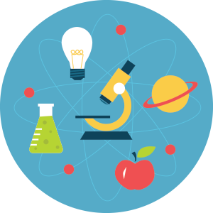Microscope, beaker, planet, apple & lightbulb inside blue circle
