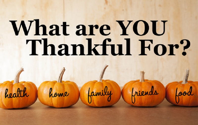 5 pumpkins with What are you Thankful for question