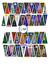 College pennants of SUNY schools