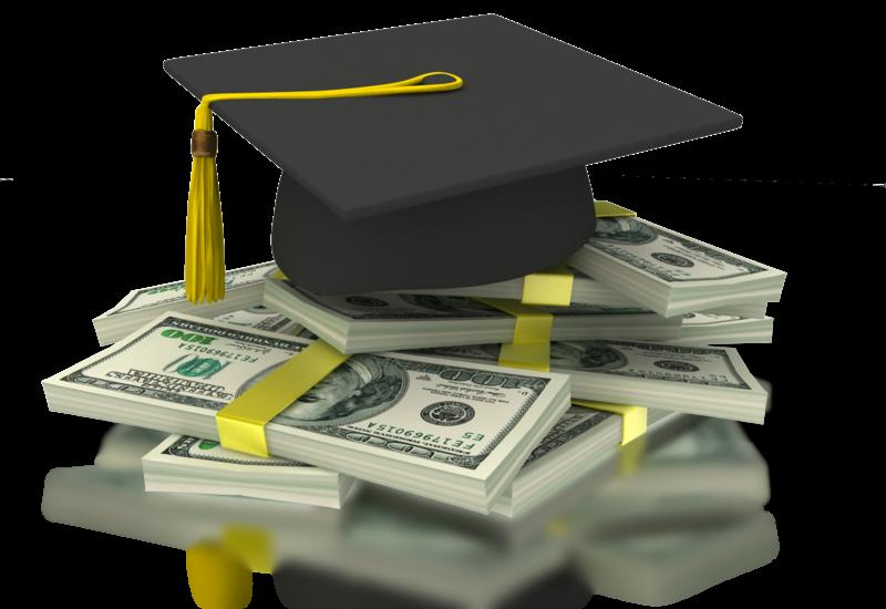 Graduation cap on stack of money