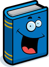 Blue book with smiley face on cover