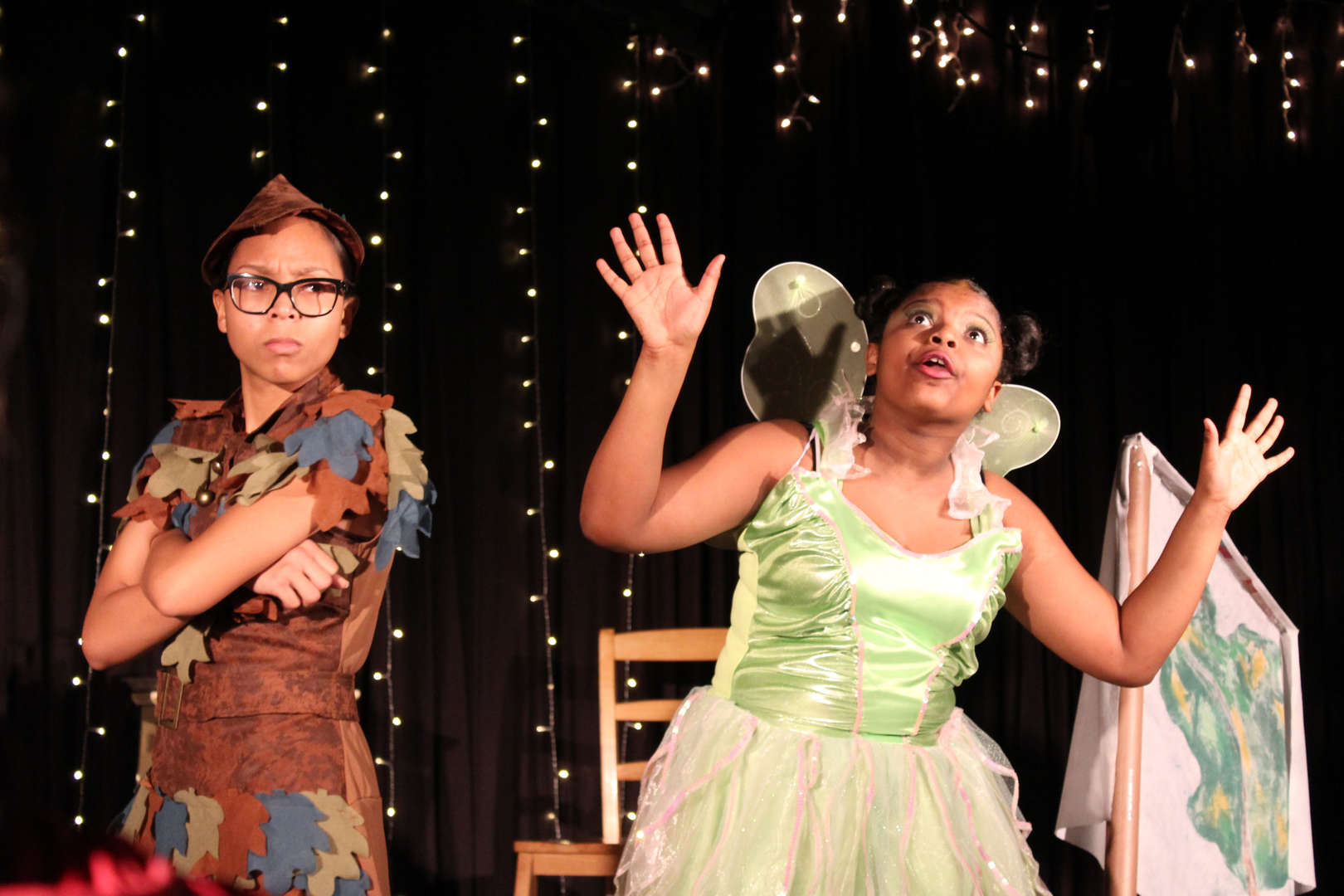 Two students perfoming in The Lost Boy as Peter Pan and Tinkerbell