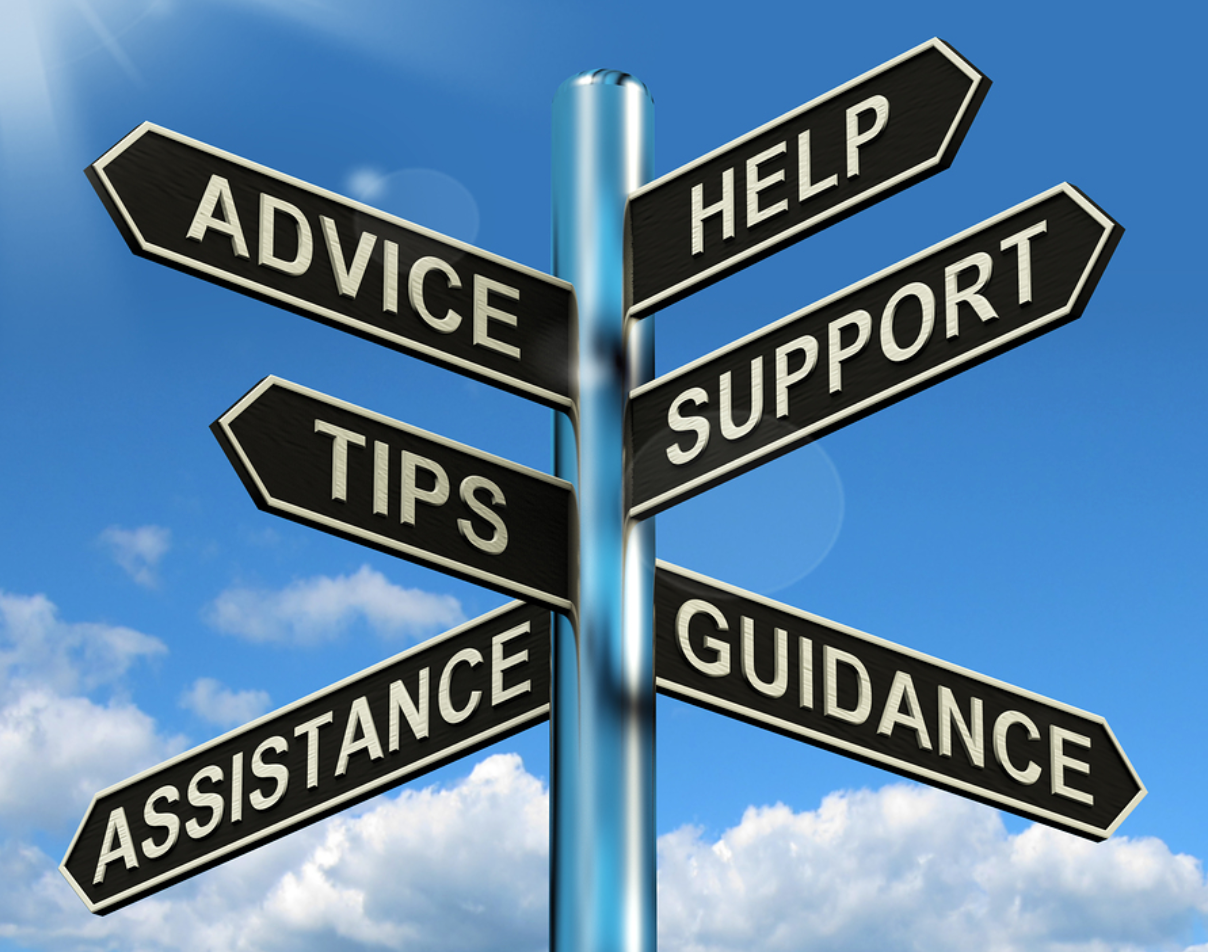 sign with road signs directing to advice, help, support and tips