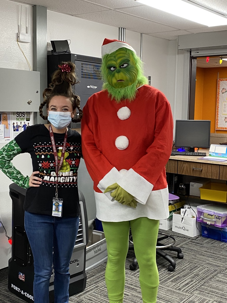 Ms. Kramer as Cindy Lou Who and Mr. Daniel the Grinch