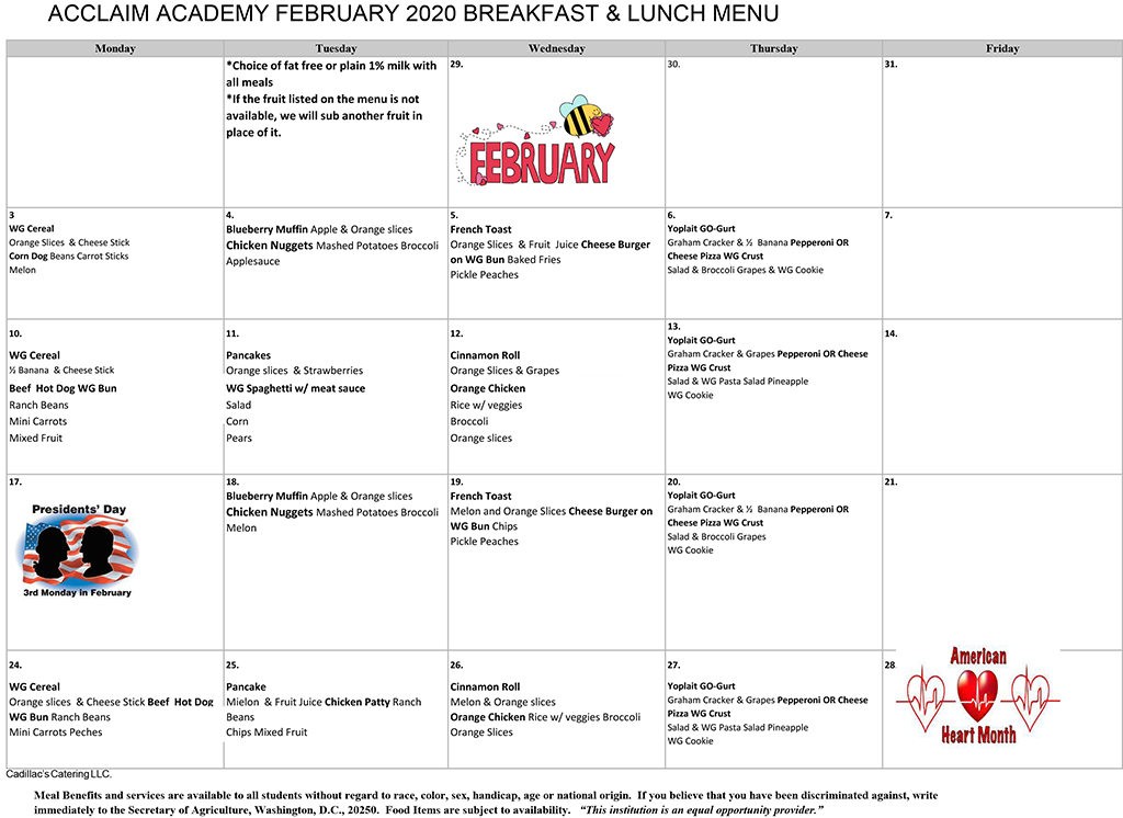 ACCLAIM Lunch Menu February 2020