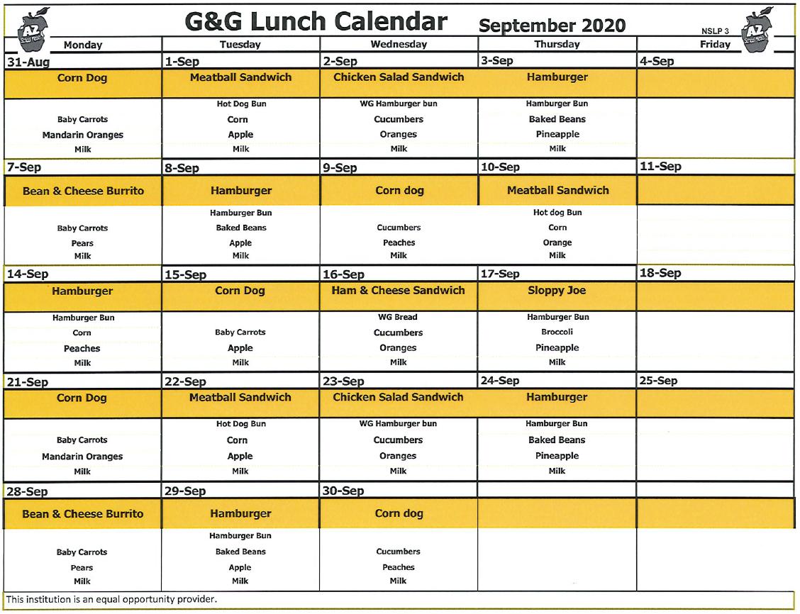 ACCLAIM Academy September 2020 Lunch Menu