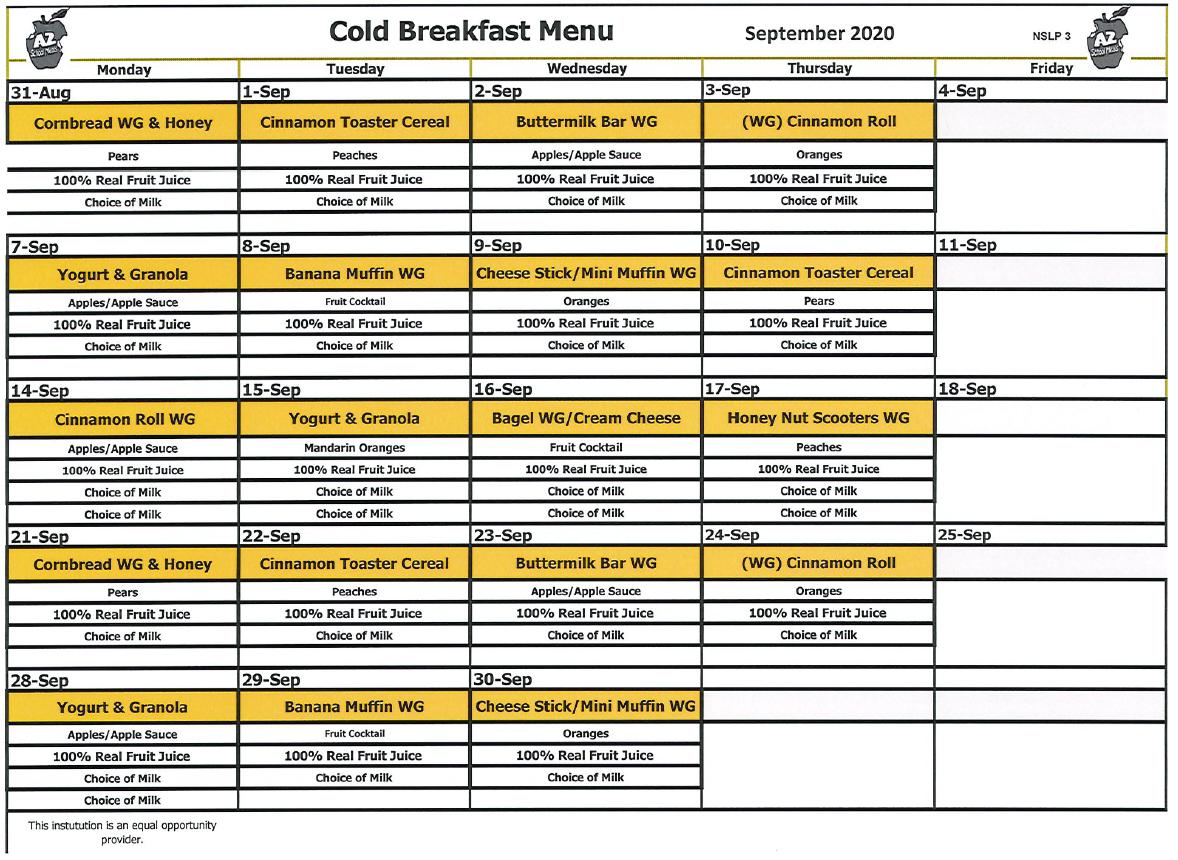 ACCLAIM Academy September 2020 Breakfast Menu
