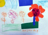 Student artwork of flowers