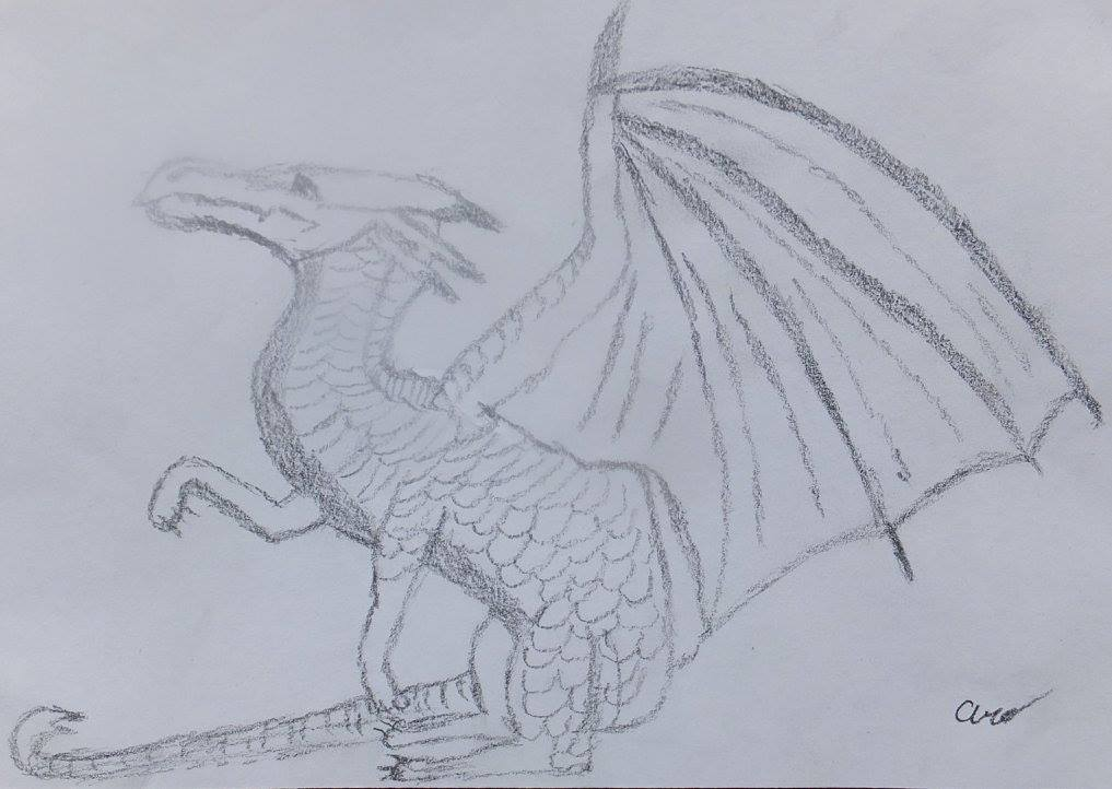 Student drawing of a dragon