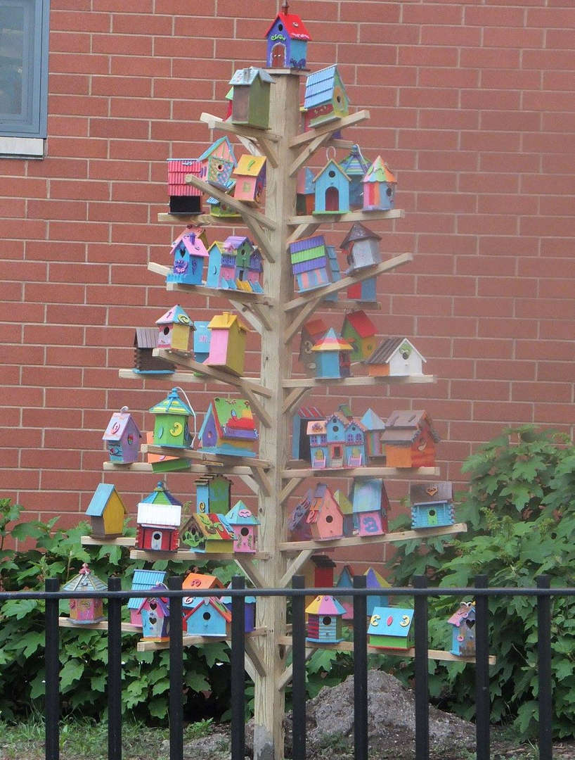 Bird house sculpture made by students in our after care programs