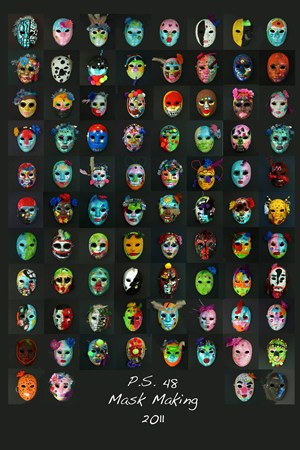 Decorative masks created by students through a grant from Goldman Sachs