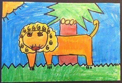 Student drawing of a lion