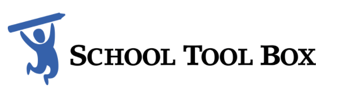 Blue clipart of child holding a pencil next to text that says School Tool Box