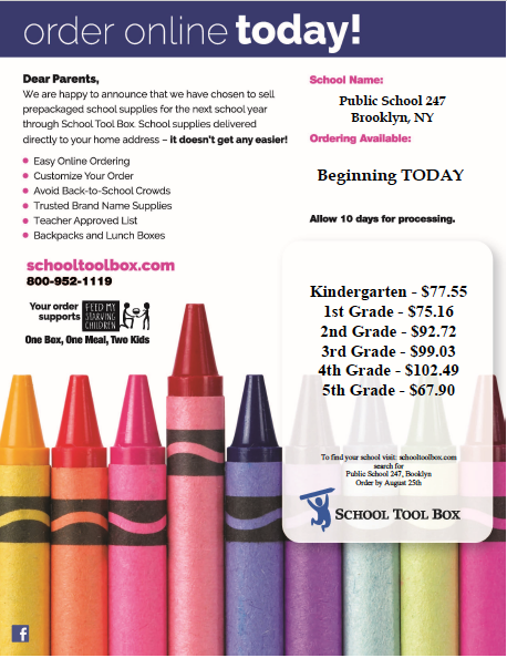 Picture of school supplies flyer.
