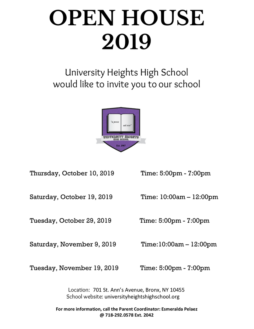 Open house dates for 2019