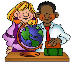 Clip art of teacher and student with globe.