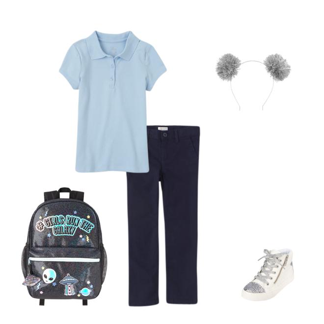 School uniform consisting of short sleeve light blue shirt, dark pants, backpack, and shoes.