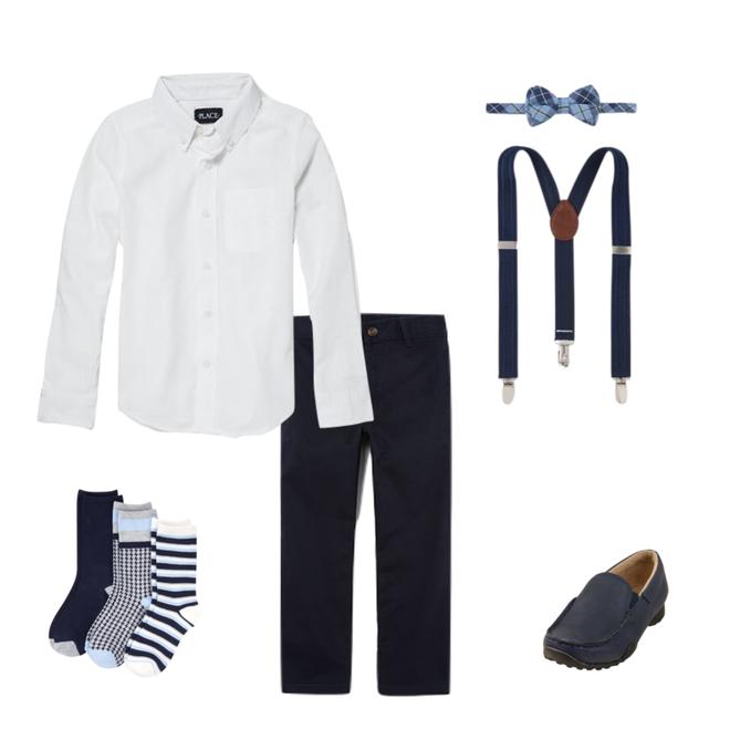School uniform consisting of white shirt, dark pants, dress shoes, and socks.