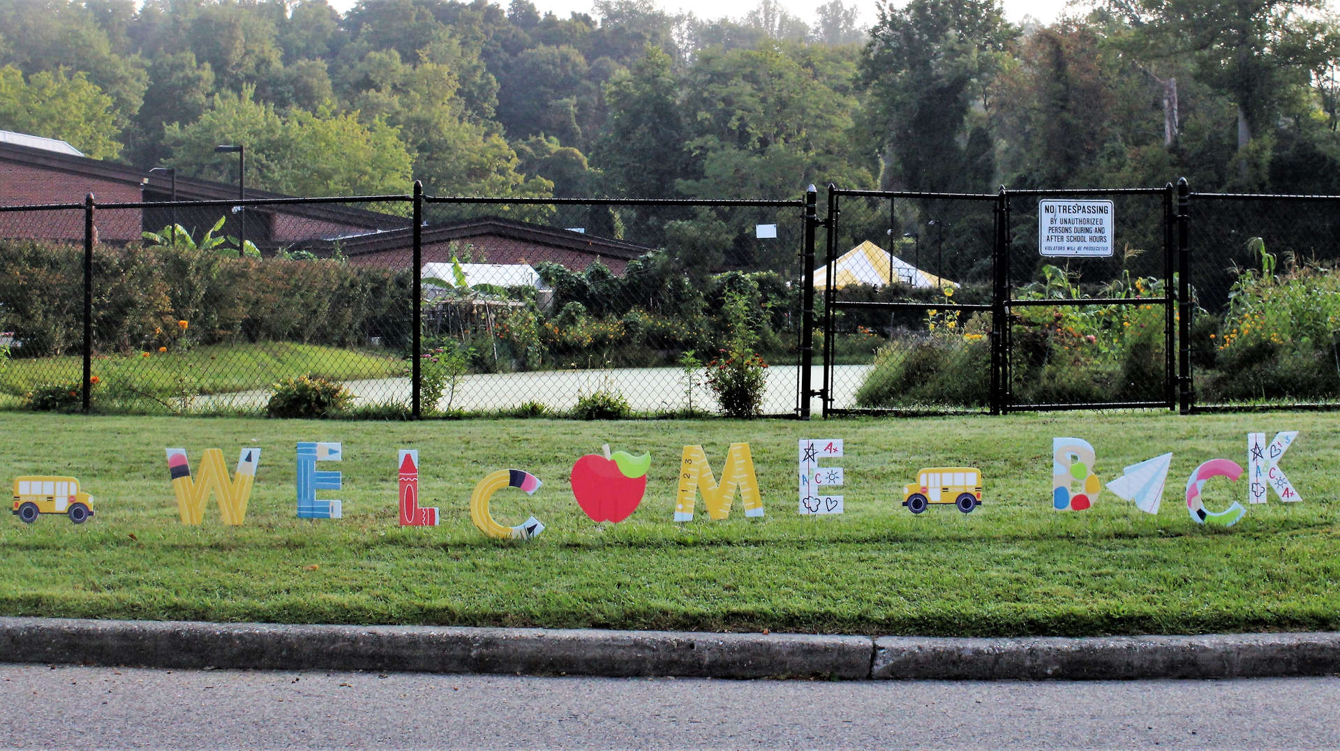 """One of two """"Welcome Back"""" to school yard signs at Pocantico."""